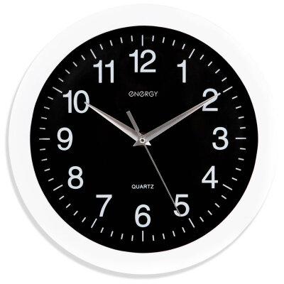 Часы круглые настенные 28 см ENERGY ЕС-03 с плавным ходом, Черные с белым