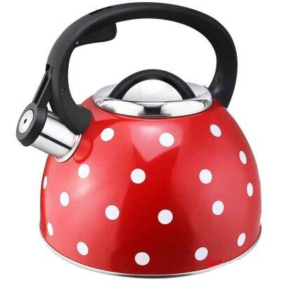Чайник на плиту Maestria Mallony 2.5 л со свистком Красный в белый горошек