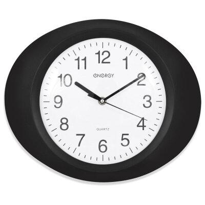 Часы настенные овальные 33х27.5 см ENERGY ЕС-04 бесшумные, Черные с белым