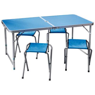 """Стол походный со стульями """"Пикник"""" CHO-150-E синий, 4 стула до 80 кг каждый"""