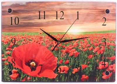"""Часы настенные """"Маки"""" прямоугольные 37х25 см MAXTRONIC MAX-96021 стеклянные"""