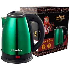 Чайник МАТРЁНА MA-002 электрический 1.8 л стальной зеленый