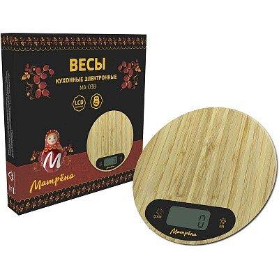 Весы кухонные электронные МАТРЁНА МА-038 бамбук круглые до 5 кг