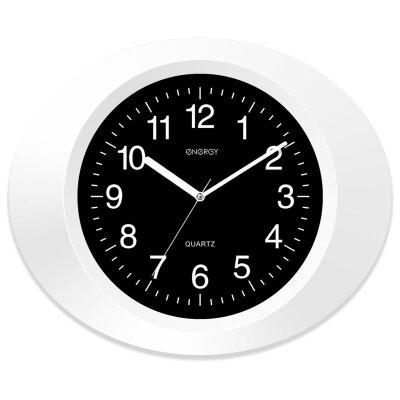 Часы настенные овальные 33х27.5 см ENERGY ЕС-05 с плавным ходом, Черно-белые