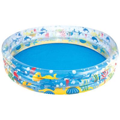 """Bestway 51004B Бассейн надувной для детей от 3 лет круглый """"Подводный мир"""", бортик - 3 кольца, 152х30 см, 282 л"""