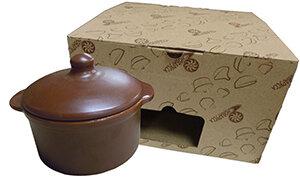 Кастрюля из керамики 1 литр для духовки №2 ШЛК00000405 Цвет Шоколад