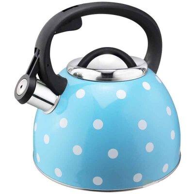 Чайник Maestria Mallony для плиты 2.5 л со свистком голубой в белый горошек