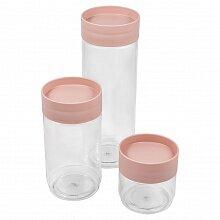 Набор банок для хранения сыпучих продуктов арт. РТ1159ПД PLAST TEAM 3 штуки 0.5 л, 1 л, 1.5 л пудровый