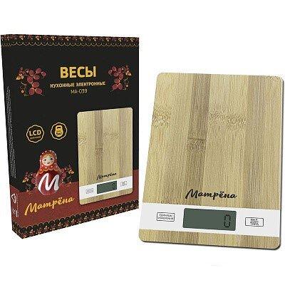 Весы кухонные электронные МАТРЁНА МА-039 бамбук, прямоугольные, до 5 кг