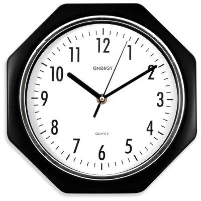Часы настенные восьмигранные 25 см ENERGY ЕС-06 с плавным ходом Черные с белым