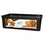 Корзинка для хлеба плетеная 26х16х8 см ПЦ1823 пластик, цвет темный или бежевый