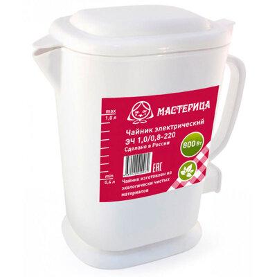 Чайник электрический пластиковый 1 л 800 Вт Мастерица,  белый