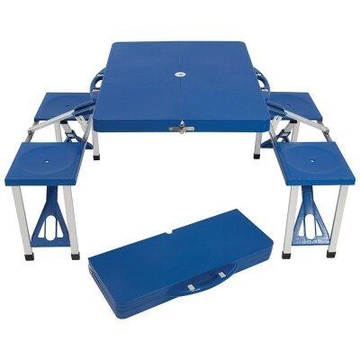 Стол складной со скамейками в чемодане TD-12 ECOS с отверстием для зонта