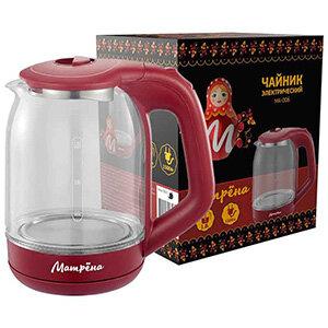 Чайник МАТРЁНА MA-006 электрический стеклянный 1.8 л вишневый