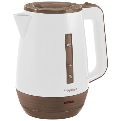 Электрический чайник пластиковый 1.7 л ENERGY E-235 фильтр, 2200 Вт, диск белый-коричневый