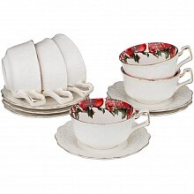 Чайный набор на 6 персон Гранаты