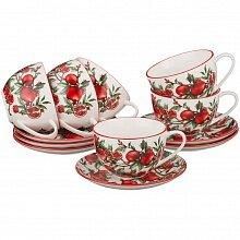 """Чайный набор на 6 персон с рисунком """"Гранат"""""""