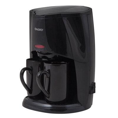 Капельная кофеварка на 2 чашки мини 450 Вт ENERGY EN-601B Черная, с постоянным фильтром