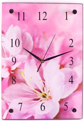 """Настенные часы """"Лилии"""" прямоугольные 25х37 см MAXTRONIC MAX-96025 стеклянные"""