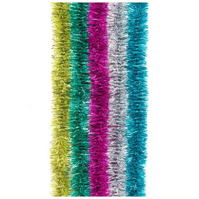 Елочная мишура новогодняя 1.8 метров 6 слоев лавсан , красный, зеленый, малиновый, серебристый, синий