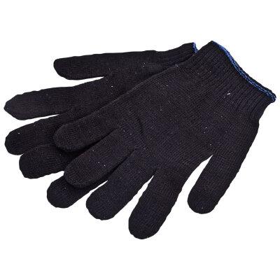 Перчатки рабочие хозяйственные х/б черные 10 класс, 4 нити