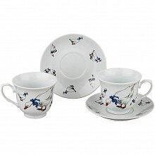 """Чайный набор на 2 персоны с рисунком """"гуси"""""""