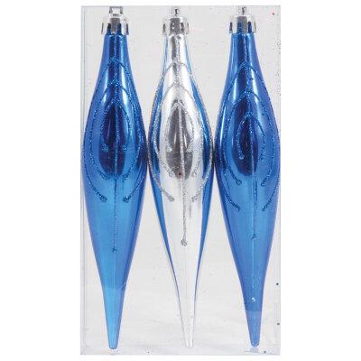 Набор елочных украшений Нарядные сосульки PS16-3-174 3 шт 16 см цвет синий и серебристый