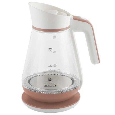 Чайник ENERGY E-297 электрический 1.5 л стекло пластик цвет бело-коралловый