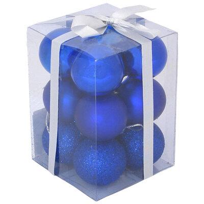 Набор матовых и глянцевых елочных шаров для елки 6 см PB6-12SMB-B 12 шт