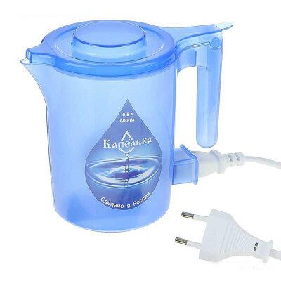 Мини чайник электрический пластиковый 0.5 л Капелька 600 Вт, синий