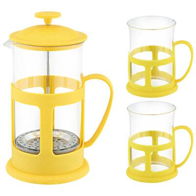 Набор френч пресс PFP01-600ML-SET Mallony 600 мл и 2 чашки по 0.2 л  цвет Желтый
