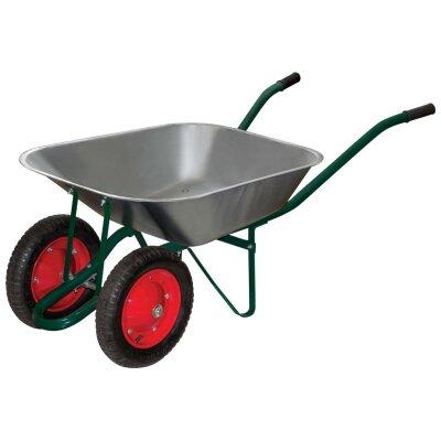 Тачка садовая двухколесная до 150 кг WB 4107-2 оцинкованное корыто 65 л, диаметр колеса 330 мм