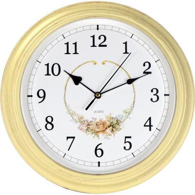 Часы круглые настенные с цветами 29 см MAXTRONIC MAX-9510F1 кварцевый механизм, корпус пластик