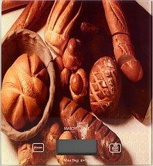 Весы бытовые кухонные электронные до 5 кг MAXTRONIC MAX-893-4 стеклянная платформа Хлеб