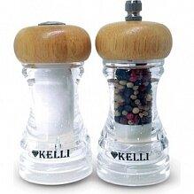 Мельница для перца и солонка набор 10 см KL-11107 прозрачные