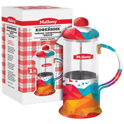 Чайник заварной пресс UNICO-1000ML цветной каркас из стали
