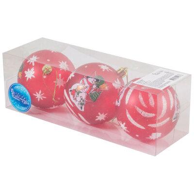 Набор шаров для новогодней елки 8 см SYCB17-412  3 шт