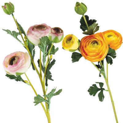 Искусственный цветок для декора Ранункулюс (садовый лютик) на ветке 3 цветка и 1 бутон 63 см