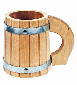Кружка для бани деревянная 0.5 литра пивная