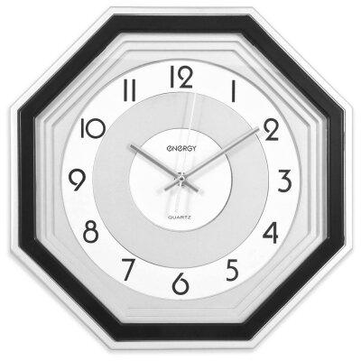 Часы настенные восьмигранник 33х33 см ENERGY ЕС-12 офисные Черные с белым