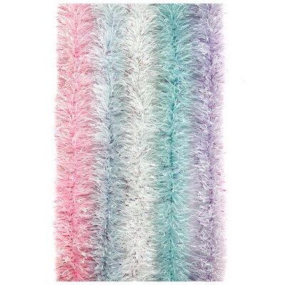 Елочная мишура с радужными кончиками 1.8 метра цвета - розовый, белый, морской волны, сиреневый, голубой