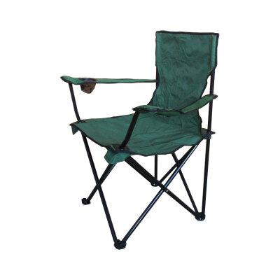 Кресло походное складное с подлокотниками для карповой рыбалки  до 120 кг PARK DW-2009H-GR вес 1.7 кг, Темно-зеленое