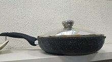 Сковорода Мечта Гранит Бриллиант С24771 24 см с несъемной ручкой и стеклянной крышкой