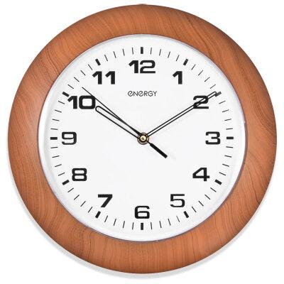 Часы настенные круглые кварцевые 30 см ENERGY ЕС-13 бесшумные ободок под дерево