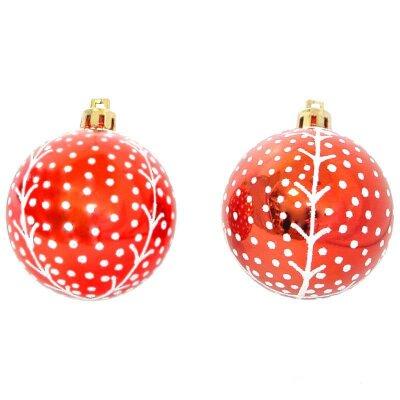 Набор новогодних шаров для елки 6 см PBD6-6-058-R 6 штук