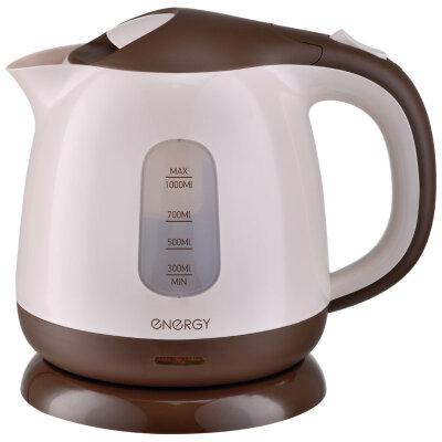 Чайник электрический пластиковый на 1 литр ENERGY E-275 Br фильтр 1100 Вт, Коричневый