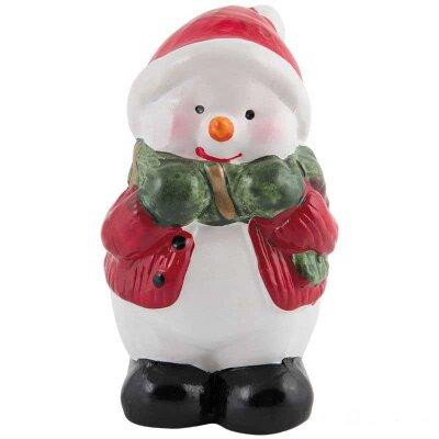Фигурка декоративная керамическая новогодняя Снеговик 5.3x5x8.5 см