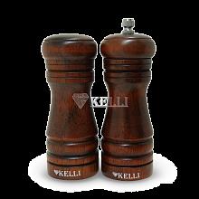 Деревянная мельница для перца и солонка в наборе 13 см KL-11121