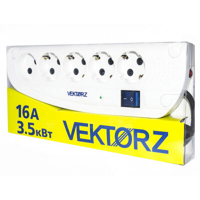 Удлинитель VEKTOR Z Белый с сетевым фильтром 5 м 4 роз с заземлением + 1 роз без заземления 3.5 кВт, 16 А