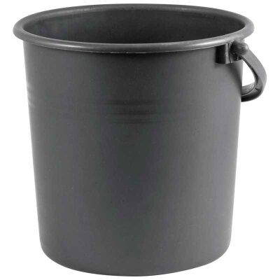 Ведро 7 литров пластиковое высота 23 см, диаметр 19 см, Черное